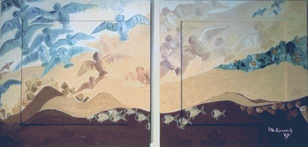 Acryl, australischem Sand und Pigmente, 2 zus.gehörende Bilder, Größe je ca. 55x55 cm