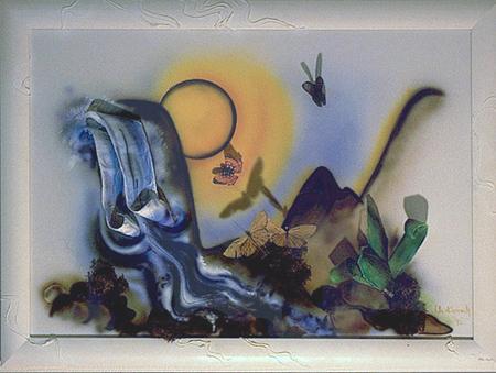 Acryl und Airbrush, teilweise aufgesetzte Objekte(3D), Größe 70x50 cm