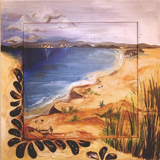 Acryl, teilw. gespachtelt, Auflage mit Sand und Sylter Miesmuscheln, Größe ca. 60x60 cm