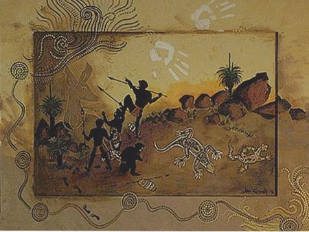 Acryl, australische . Pigmente, Größe 110x80 cm