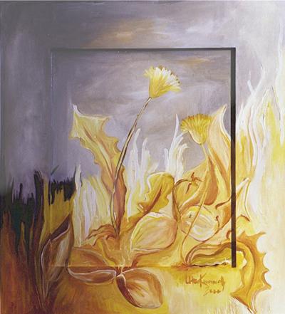 Acryl, nur durch Verwendung von 4 Farben gemalt, Größe ca.40x50 cm