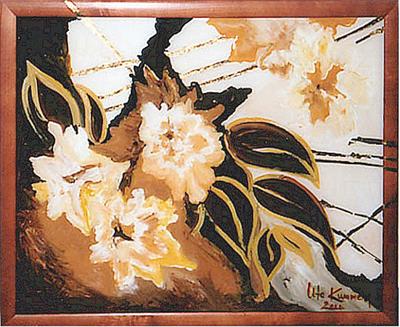 Acryl, Hinterglasmalerei mit Blattgoldauflage, Größe ca. 50x40 cm