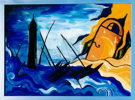 Acryl, Hinterglasmalerei, Größe ca. 50x70 cm