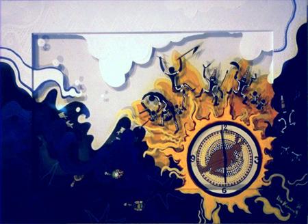 Acryl, Doppelwandig mit Acrylglas bemalt, integrierter Uhr