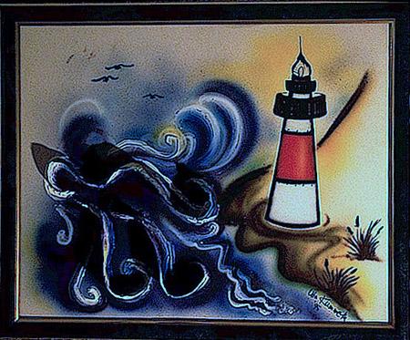 Acryl, Airbrush, aufgesetzte Wellen (3D) Größe ca. 55x45 cm