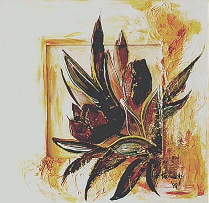 Acryl, aufgesetzte Tulpen (3D), Größe ca. 40x40 cm